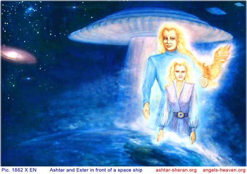 Ashtar Sheran and Esther in front of a space ship