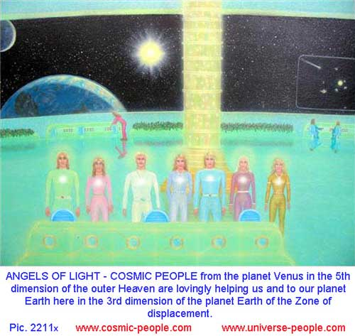 The Angels of Heavens in a space ship above Earth