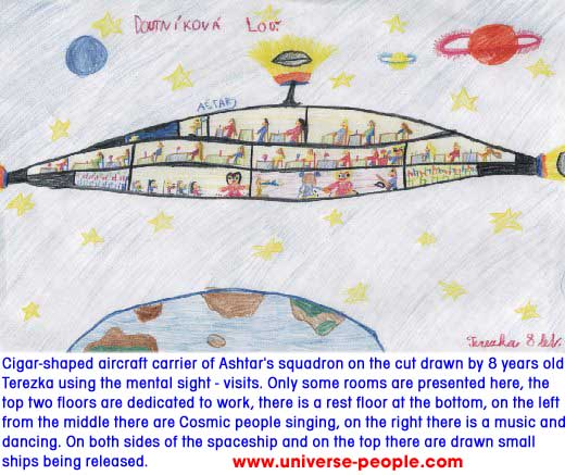 Ashtar's space ship painted by 8-years old Terezka